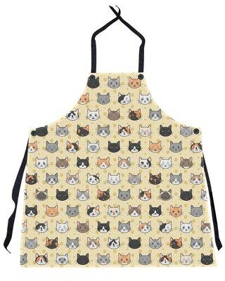 East Urban Home Kitty Cat Pattern Apron W000448671 Color: Yellow