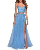 La Femme Two-Piece Tulle & Lace Gown, Size 14 in Cloud Blue at Nordstrom