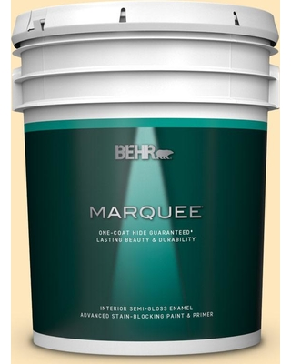 BEHR MARQUEE 5 gal. #310A-2 Gold Buttercup Semi-Gloss Enamel Interior Paint and Primer in One