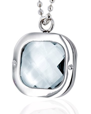 Coastal Jewelry Stainless Steel Clear Crystal Pendant Necklace
