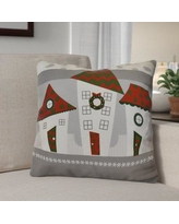 """The Holiday Aisle Decorative Holiday Geometric Print Throw Pillow HLDY1540 Size: 18"""" H x 18"""" W, Color: Red"""