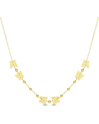 Jared The Galleria Of Jewelry Beads & Butterflies Necklace 14K Yellow Gold