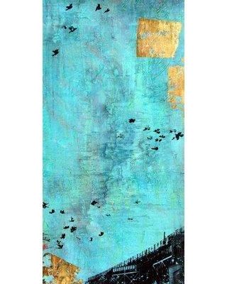 """Marmont Hill 'Train With Birds' by Tracy Silva Barbosa Painting Print on Wrapped Canvas MH-TSB-66-C Size: 24"""" H x 12"""" W"""