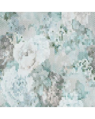 "Walls Republic Geometric Pixellated Floral 33' x 20.8"" Wallpaper Roll R465 Color: Blue / Gray"