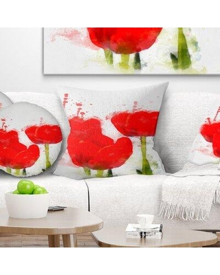 "East Urban Home Floral Bright Tulip Flowers with Splashes Pillow FUSI4059 Size: 18"" x 18"" Product Type: Throw Pillow"