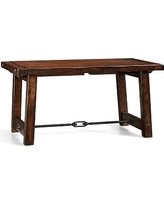 """Benchwright Extending Rectangular Dining Table, 60 x 38"""", Rustic Mahogany stain"""