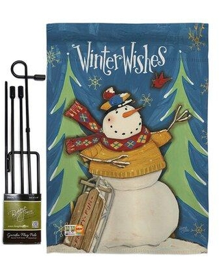 Amazing Deal On Breeze Decor Winter Wishes Snowman Wonderland Impressions 2 Sided Polyester 19 X 13 In Garden Flag In Brown Blue Wayfair