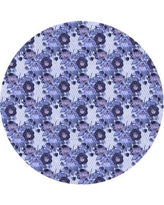 East Urban Home Werner Floral Wool Blue Area Rug W002339087 Rug Size: Round 5'