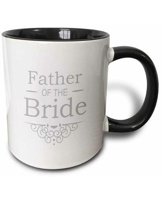 """Winston Porter Robson Mother of The Bride Coffee Mug, Capacity: 11 oz, Theme: Father of the Bride, Ceramic in White/Black, Size 4""""H X 3""""W X 4""""D"""