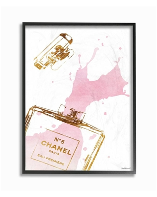 """The Stupell Home Decor Collection 16 in. x 20 in. """"Glam Perfume Bottle Splash Pink Gold"""" by Amanda Greenwood Wood Framed Wall Art, Multi-Colored"""