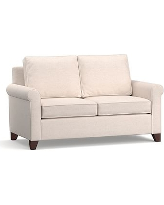 """Cameron Roll Arm Upholstered Loveseat 63"""", Polyester, Polyester Wrapped Cushions, Performance Heathered Tweed Ivory"""