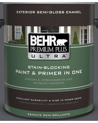 BEHR ULTRA 1 gal. #PPU18-02 Pencil Point Semi-Gloss Enamel Exterior Paint and Primer in One