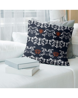 Chicago Football Baroque Pattern Accent Pillow-Faux Linen