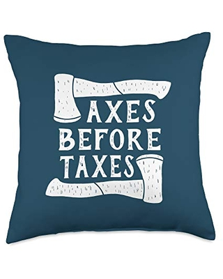 ADC Axe Throwing Gifts and Gear Taxes Funny Axe Accounting Throw Pillow, 18x18, Multicolor