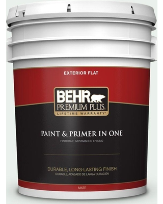 BEHR Premium Plus 5 gal. #470E-1 Breakwater White Flat Exterior Paint and Primer in One