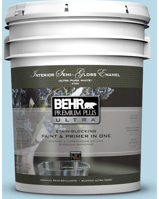 BEHR ULTRA 5 gal. #M490-1 Breezy Blue Semi-Gloss Enamel Interior Paint and Primer in One