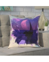 """Brayden Studio Houck Watercolor Moon and Sailboat Square Pillow Cover BYST3653 Size: 16"""" H x 16"""" W"""