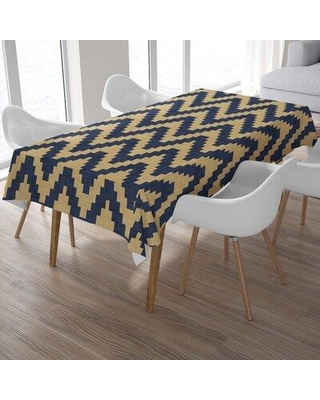 Union Rustic Pinto Twine Tablecloth X111437357 Color: Navy/Gold