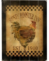 """August Grove Rusty Rooster Inn Wall Art on Plaque ATGR5020 Size: 16"""" H x 12"""" W"""