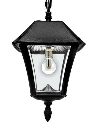 64e3ab49257 Gama Sonic Baytown II Solar Black Integrated LED Hanging Light with Remote  Control