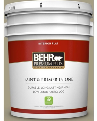 BEHR Premium Plus 5 gal. #N340-4 Tent Green Flat Low Odor Interior Paint and Primer in One