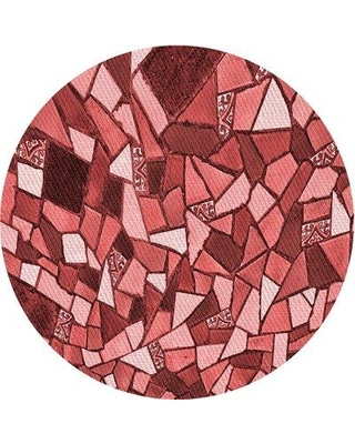 East Urban Home Geometric Wool Red Area Rug W002559773 Rug Size: Round 5'