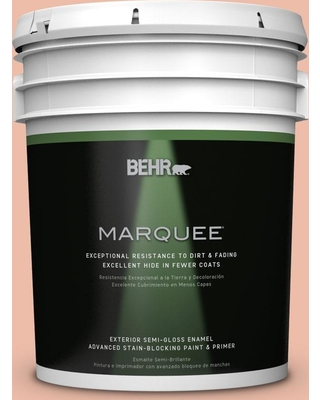 BEHR MARQUEE 5 gal. #BIC-03 Veronese Peach Semi-Gloss Enamel Exterior Paint and Primer in One