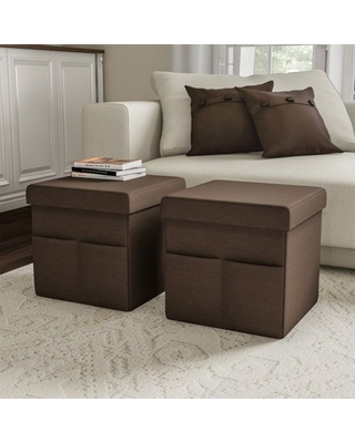 Foldable Storage Cube Ottoman with Pockets (Pair, Linen Brown)