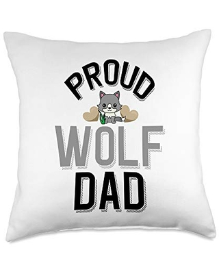 Cute Wolf Lover Apparel Cute Pet Owner-Proud Wolf Dad Throw Pillow, 18x18, Multicolor