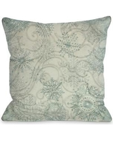 One Bella Casa Icy Snowflakes Throw Pillow 71734PL18