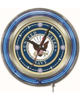 "Holland Bar Stool US Armed Forces 15"" Double Neon Ring Logo Wall Clock Clk15 Branch: Navy"