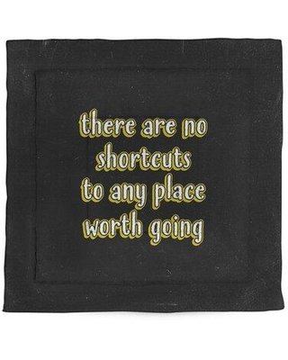 East Urban Home No Shortcuts Quote Chalkboard Style Microfiber Comforter - King Size EBJZ7433 Size: Queen Comforter Color: Yellow