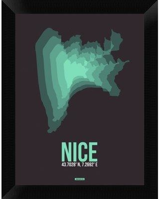 """Naxart 'Nice Radiant Map 4' Framed Graphic Art Print on Canvas, Canvas & Fabric in Brown/Green, Size 18"""" H x 14"""" W x 1.5"""" D 