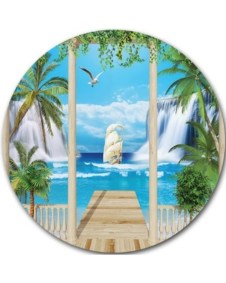 "'Wooden Terrace with Sea View' Graphic Art Print on Metal Design Art Size: 23"" H x 23"" W x 1"" D"
