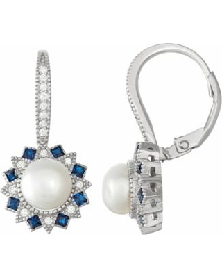 Sterling Silver Freshwater Cultured Pearl & Lab-Created Blue Spinel Drop Earrings, Women's, White