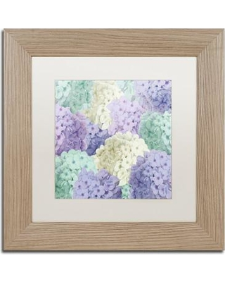 """Trademark Fine Art 'Hortensia Groundless Cool Tones' by Color Bakery Framed Graphic Art ALI4342-T1 Size: 11"""" H x 11"""" W x 0.5"""" D Mat Color: White"""