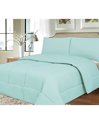 Sweet Home Collection Down Alternative Polyester Comforter Box Stitch Microfiber Bedding - Twin, Light Blue