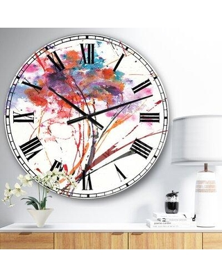 East Urban Home Oversized Abstract Handpainted Flowers Metal Wall Clock EBIC3228 Size: Medium