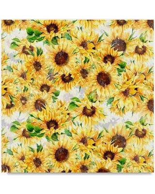 """Trademark Art 'Sunflowers Pattern' Graphic Art Print on Wrapped Canvas ALI21018-C Size: 24"""" H x 24"""" W"""