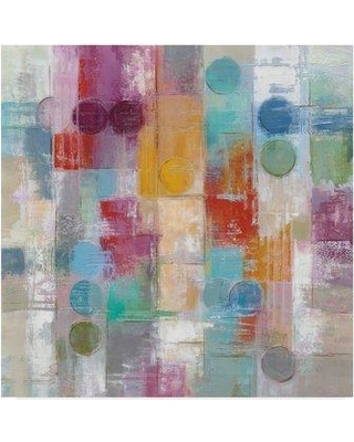 """Ebern Designs 'Summer Rain Circles and Squares' Acrylic Painting Print on Wrapped Canvas ENDE1711 Size: 14"""" H x 14"""" W x 2"""" D"""