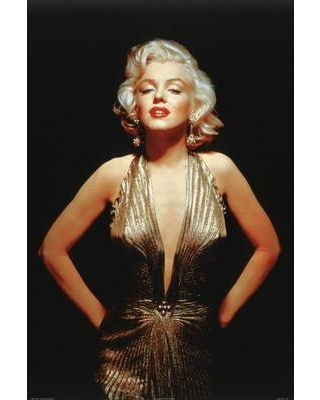 "Buy Art For Less 'Marilyn Monroe Gold Dress' by Corbis Photographic Print on Wrapped Canvas 36441C Size: 24"" H x 16"" W x 1.5"" D"