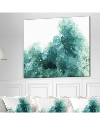"""Stone 'Aquamarine Geode Geological Crystals' Graphic Art Print on Wrapped Canvas East Urban Home Size: 30"""" H x 40"""" W x 1.5"""" D"""