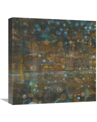 """East Urban Home 'Blue and Bronze Dots IX' Print ESUM9436 Size: 18"""" H x 18"""" W Format: Wrapped Canvas"""
