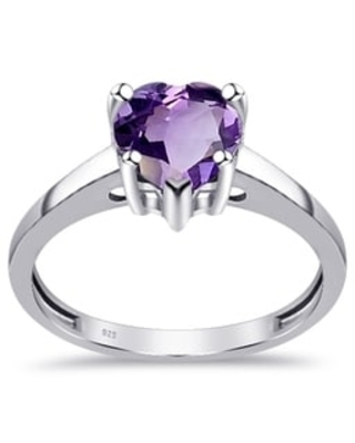 Amethyst, Sapphire Sterling Silver Heart Solitaire Ring by Orchid Jewelry (6 - Amethyst)