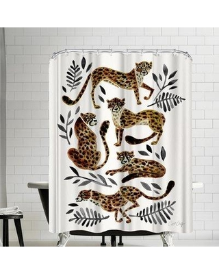 East Urban Home Cat Coquillette Cheetah Shower Curtain EBIC1511 Color Charcoal Gray Tan