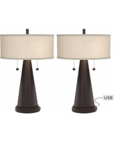 Craig Bronze Table Lamp with USB Set of 2