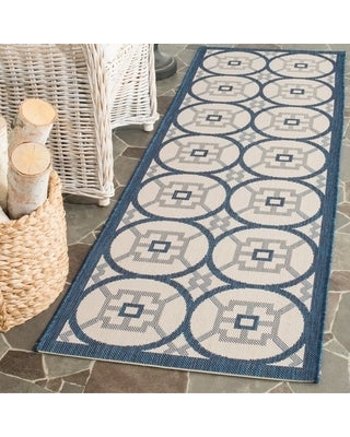 "Safavieh Courtyard Gaye Indoor/ Outdoor Rug (2'3"" x 6'7"" Runner - Beige/Navy)"