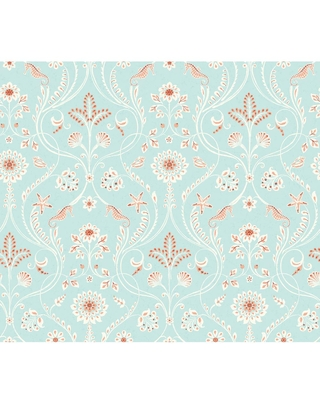 MANHATTAN COMFORT INC Winter, Anacapa Turquoise Damask Coated Paper Strippable Wallpaper Roll (Covers 56.4 sq. ft.), Blues