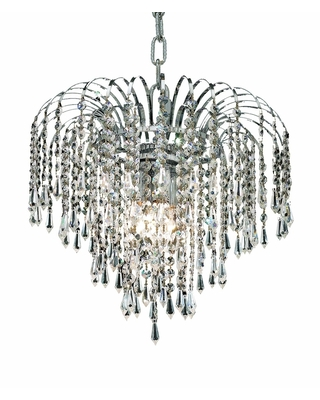 Falls 3-Light 14 in. Pendant (Available in Chrome and Gold) (Dimmable - Chrome - chrome (royal cut crystals))