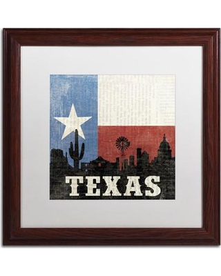 """Trademark Art 'Texas' by Moira Chocolate Framed Graphic Art WAP0077-W1 Matte Color: White Size: 16"""" H x 16"""" W"""